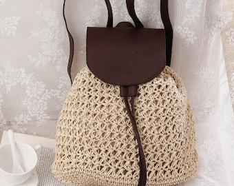 Women/'s backpack Backpack Knitted Backpack Draw String Bag Braided strap backpack Crochet backpack Women/'s Fashion Modern