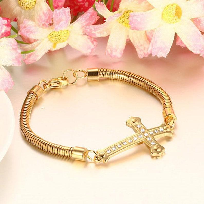 Amore Jewell Ladies Bracelet Elegant Cross  design with shiny rhinestones wedding Christmas birthday Gift fashion accessory