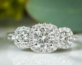gift for mom gift for her 2.75ct three stone brilliant cut engagement ring