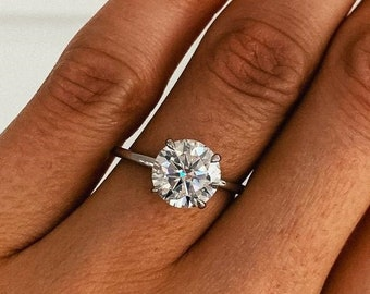 1.00 CT Round Moissanite Engagement Ring 14 White Gold,Dainty Solitaire Ring,Forever One Round Bridal Set Ring,4 Prong promise Wedding Ring