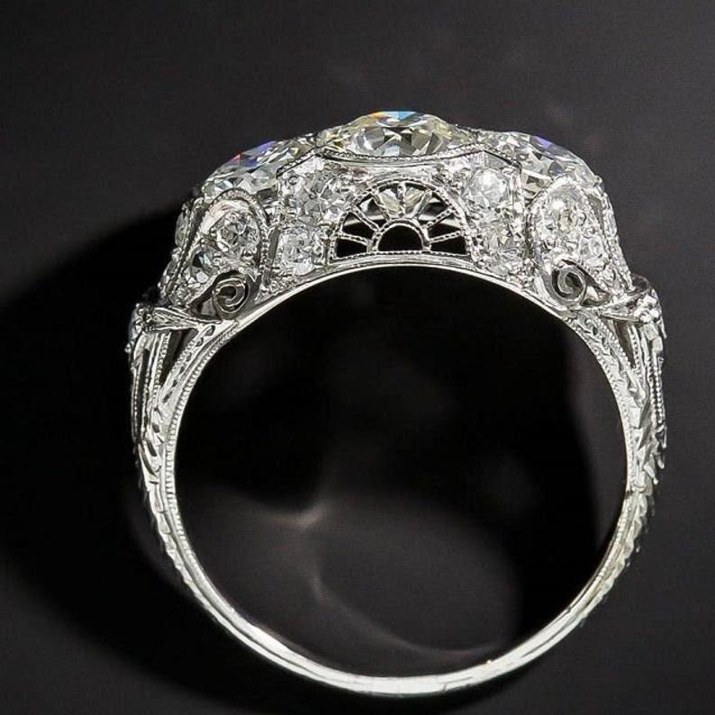 14k White Gold Ring Art Deco 3 Stone Moissanite Engagement Ring Vintage 3 Stone Simulated Diamond Ring Art Deco 3Ct Round Moissanite Ring