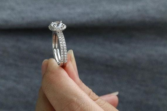 1.50CT Round Moissanite Diamond Halo Brilliant Engagement Ring 10K White Gold