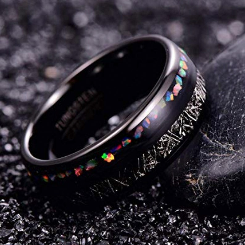 Mens Wedding Band Imitation Meteorite Womens Mens 8mm Black Tungsten Ring Womens Engagement Ring Fire Opal Sizes N 12 to X 12