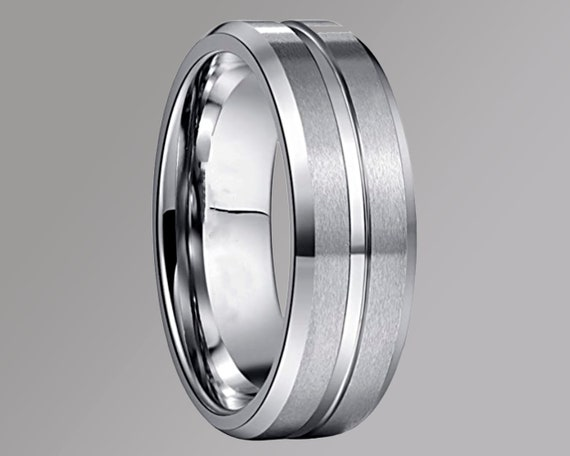 Mens 8mm Tungsten Ring with Polished Groove Black Wedding Band Friendship Ring Sizes L 12 to Z3 Womens /& Mens Engagement Promise