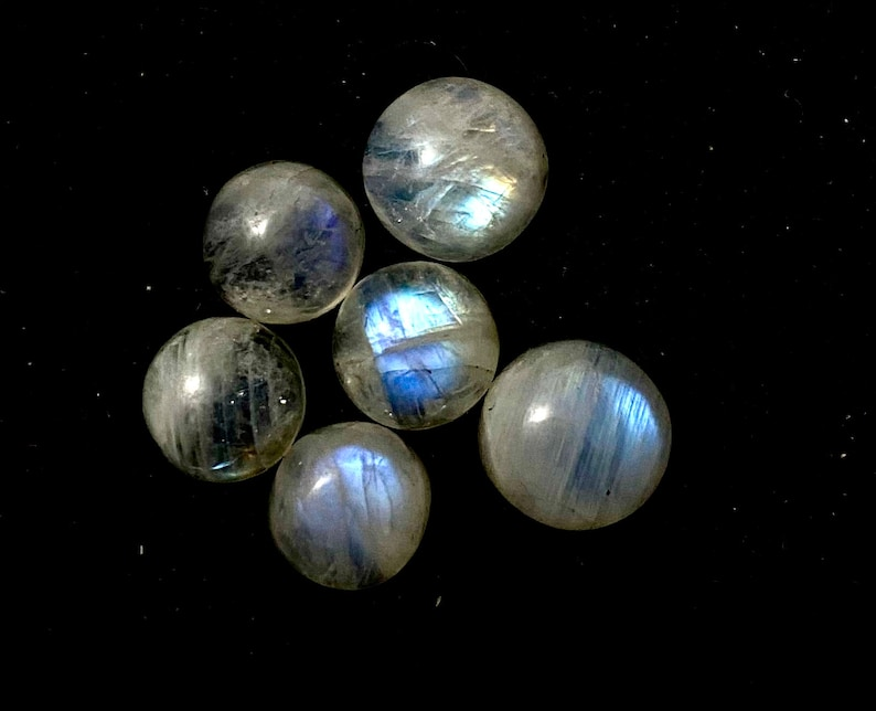 for jewelry making 6pieces Lot High Quality Amazing Natural Moonstone Clean Fire Round Shape Handmade Cabochons 9mm4ps,10mm2ps 22.85Cts
