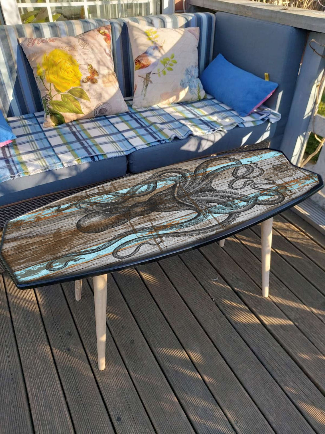 Surfboard Table, Maori, Surfing gift, Bar Decor, Beach Decor, Surfing Art Decor