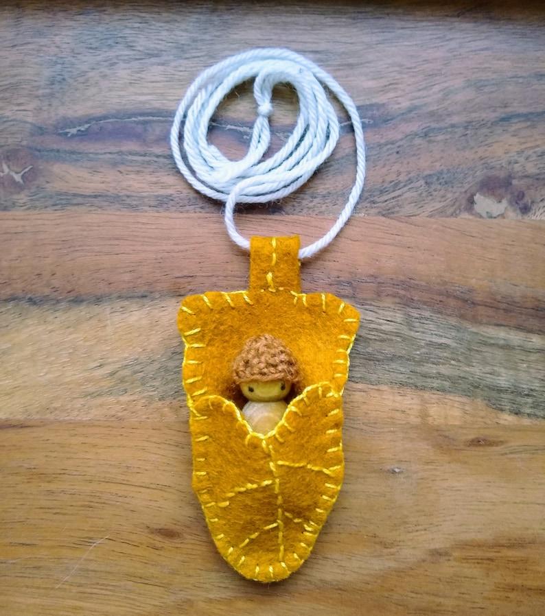 Elm Leaf Baby Peg Doll Necklace