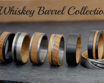 Whisky Barrel Mens Wood Wedding Band Black Tungsten Wood Ring Lined with Whisky Barrel White Oak Mens Wedding Band, Whiskey Wedding Band