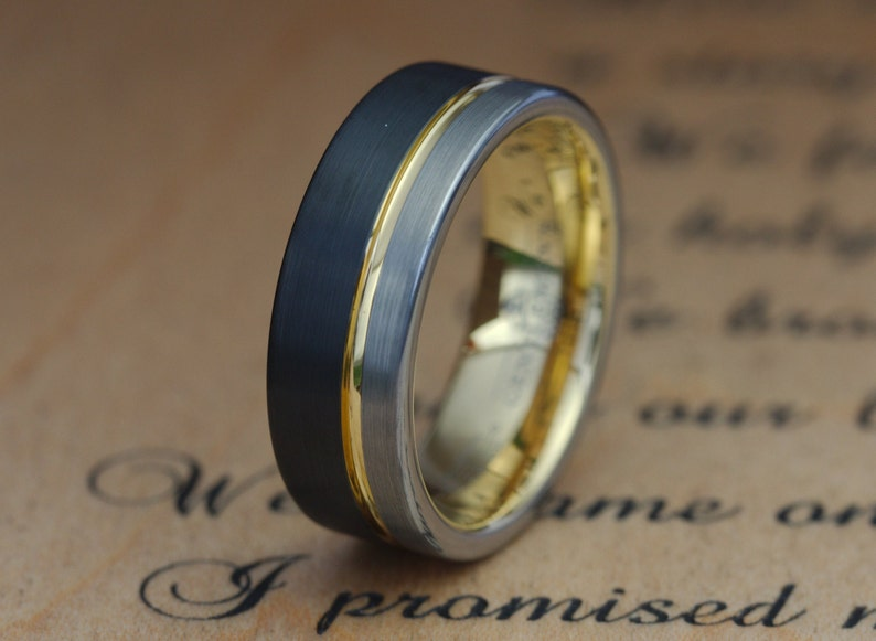 Mens Wedding Ring Male Wedding Band Mens Black Ring Mens Wedding Band Mens Engagement Ring Tungsten Ring Mens Ring