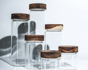 TWIST-TOP  Stackable Glass Canister Glass Container Glass Jar With Twist Wood Lids.  Food Storage/Canister/Kitchen organization.