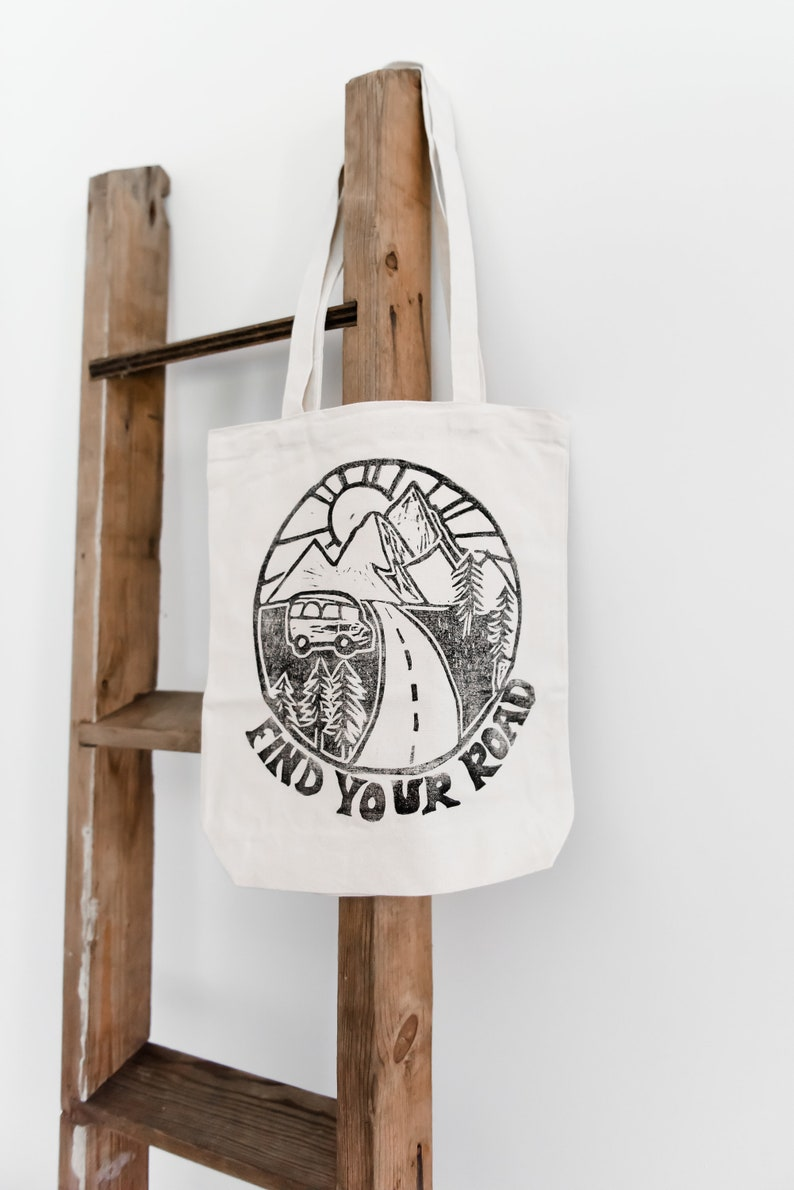 Find Your Road canvas tote bag block printed