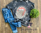 Rolling Stones bleached shirt classic vintage Rolling Stones tongue lips leopard cheetah rock roll