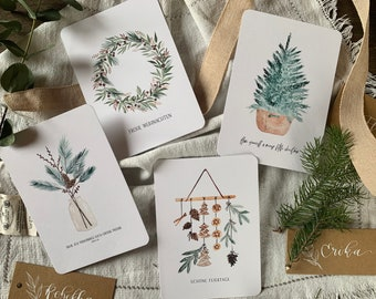 Christmas Card Set Watercolor / Four Postcards with Envelopes