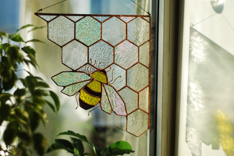 Stained glass honeycomb Clear corner honeycomb Bee Suncatcher Stained glass panel Custom stained glass Stained glass window hanging