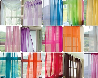 30 Colors Any Size Custom Curtains Sheer Panels Voile Colorful Tulle Bedroom Living Room Children's Room Boy Girl Curtain