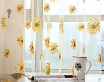 Sunflower Curtains Etsy