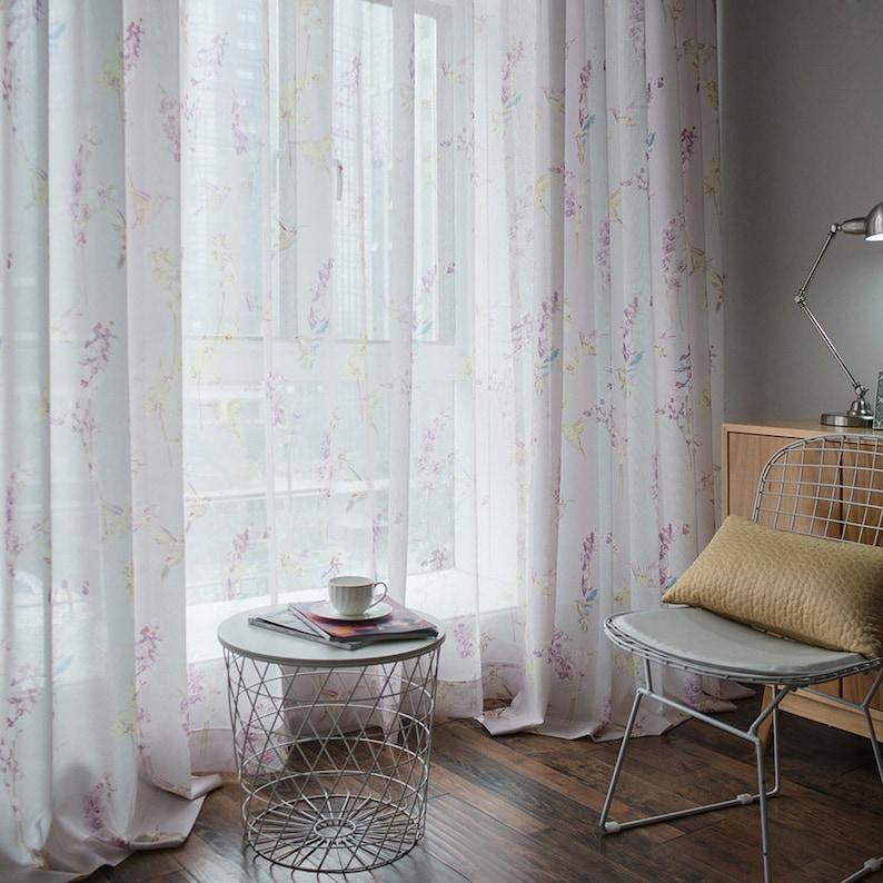 Custom Curtains Sheer Voile Pair Panel Pastoral Style Birds Flowers Prints Tulle Rod Pocket Bedroom Living Room Children/'s Room Window Decor