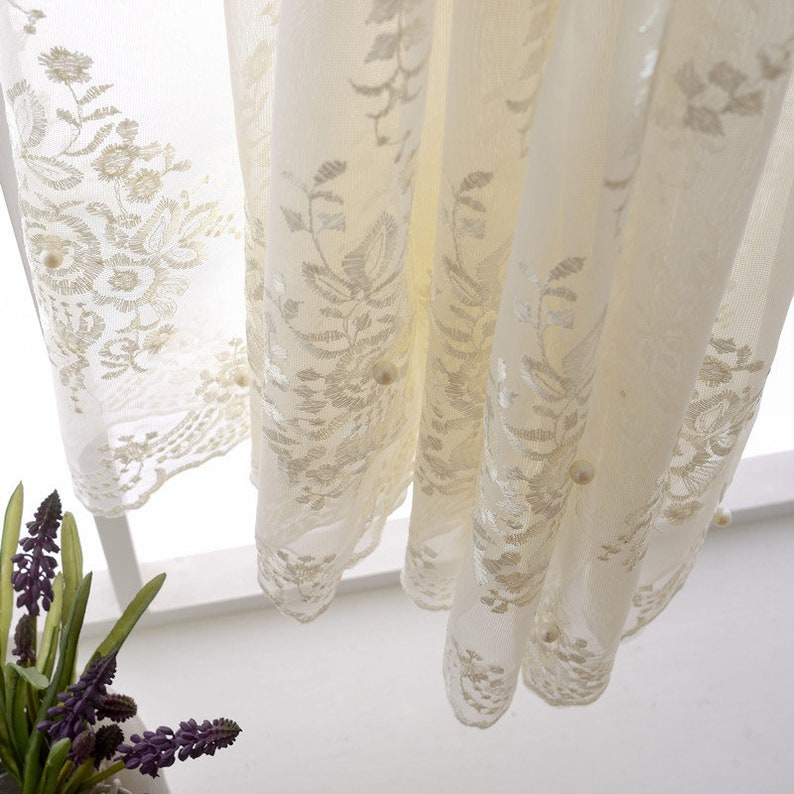 Custom Curtain A Pair of White Sheer Lace Imitation Pearl Embroidery Processing Bedroom Living Room Children/'s Room Curtain