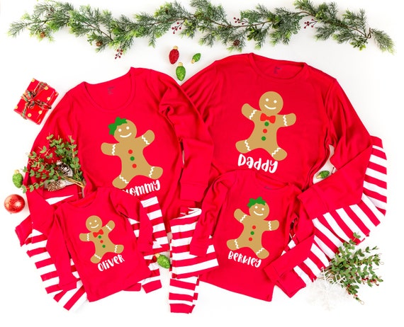 Monogram Gingerbread Christmas Pajamas Toddler Family Matching Embroidered Personalized for Baby Kid Cousins Family