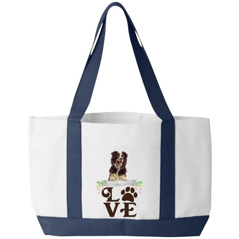 Border Collie Dog Lover Paw print Love Tote Bags All Purpose