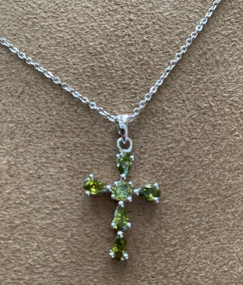 Green Peridot Cross Pendant Silver Necklace