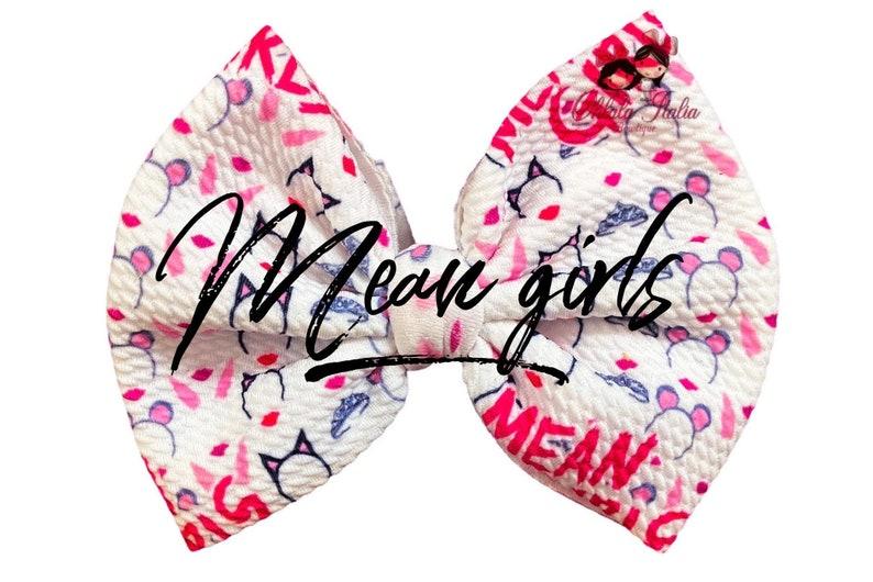 Headwrap bow Head wrap knot Bow on nylon Clip bow Mean girls