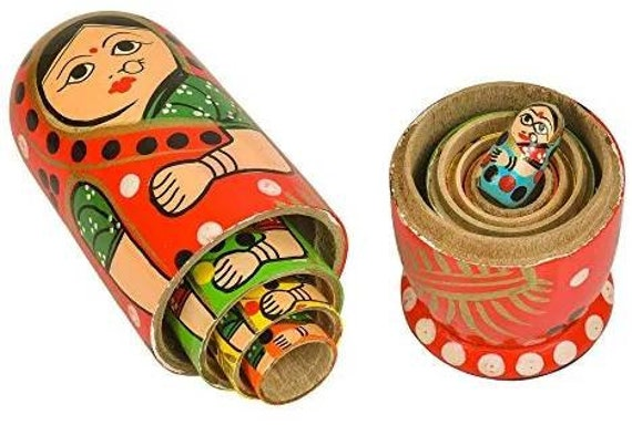 Wooden Decoration Gift Dolls Set of 5 Pcs Hand Painted Cute Wooden Indian Women Nesting Dolls Popular Handmade Kids Gifts