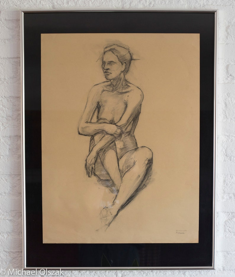 Charcoal drawing female image 0