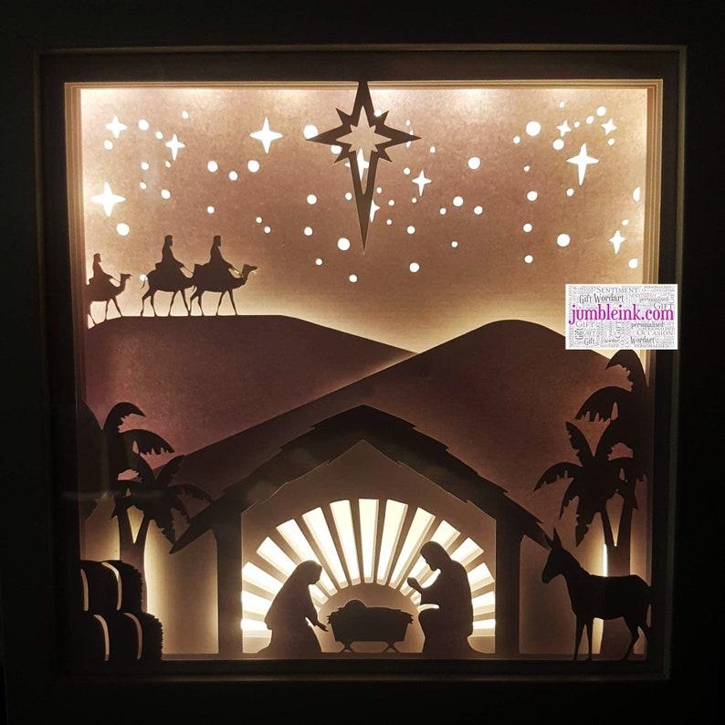 Nativity Christmas 3D Paper Cut Template Light Box SVG Digital | Etsy