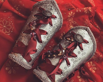 Crimson & Silver Formal Bracers