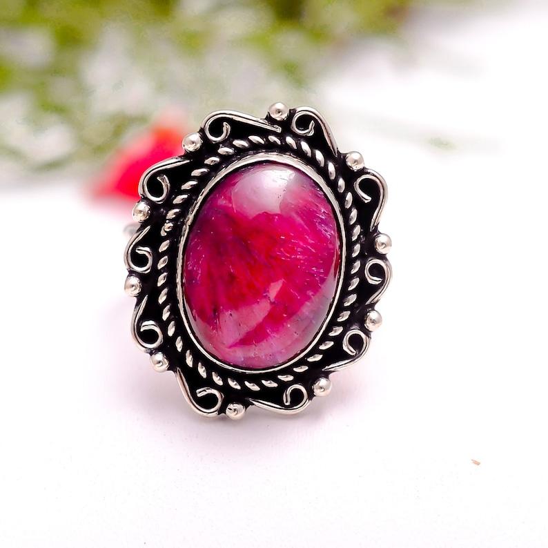July Birthstone,#Christmas gift mom Ruby Jewelry Statement Ring Red Ruby Gemstone Sterling Silver Ring Ruby Silver Ring Precious Ring