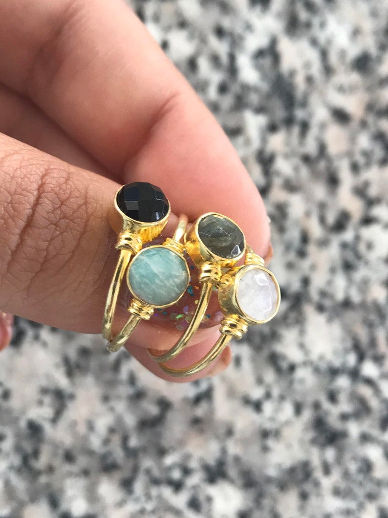 Tiny rainbow moonstone ring small june birthstone ring,white stone ring,Moonstone Stacking Ring,dainty moonstone,tiny moonstone ring,gift