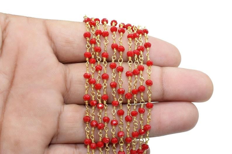 Ruby Chalcedony 3mm Beaded Chain,Ruby Chalcedony Wire Wrapped Chain,Ruby Chalcedony Brass chain,Jewelry Making Chain,Beaded rosary chain,