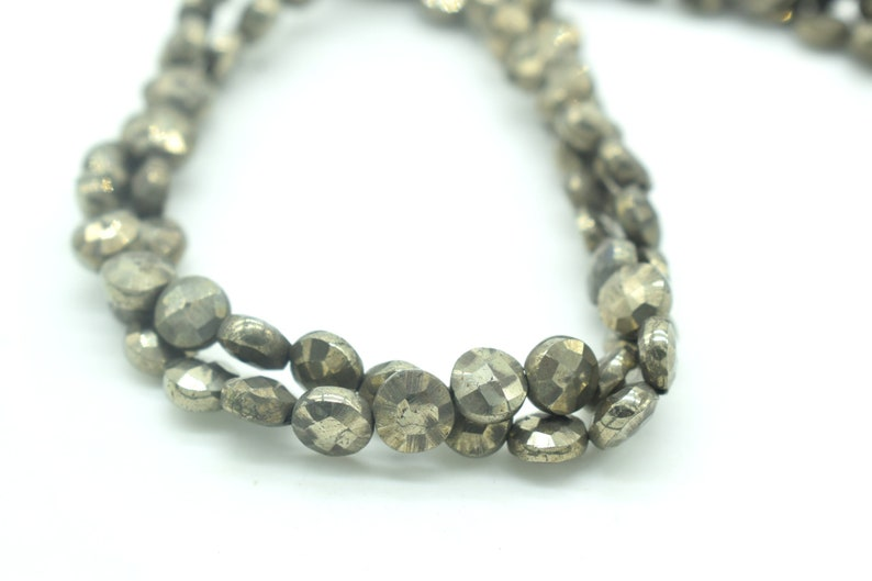 Pyrite Faceted Coin Beads,6mm round faceted Briolette,6mm Coin Beads,13 inch pyrite coin strand,Jewelry making Briolette,Gemstone stands,