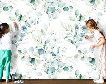 Eucalyptus Dream Wallpaper - Removable Wallpaper - Adhesive Wallpaper - Temporary Wallpaper - Floral Wallpaper - Mint Decor - Nursery - Wall