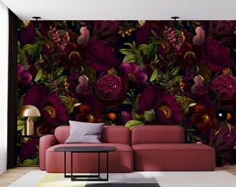 Lush Dark Roses Flower Garden, Peel and Stick Floral Wallpaper Mural, Black Floral Wallpaper Dark Floral, Beautiful big flowers, Dark art