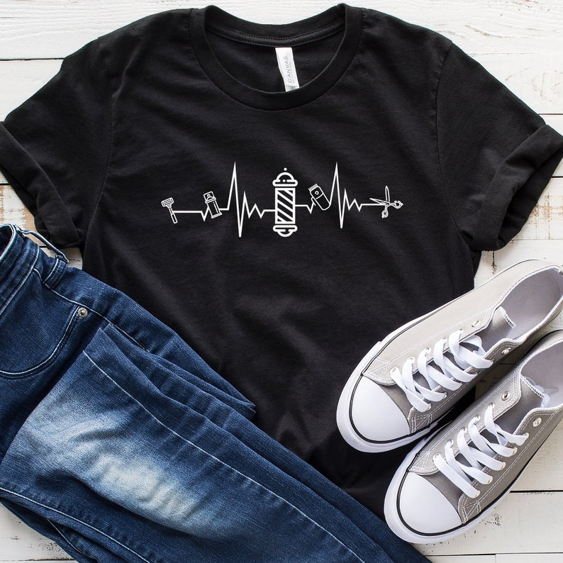 Funny Barber Shirt Barber Heartbeat T-Shirt Hair Stylist Shirt Tank Top Barber Shirt Barber Gift Hoodie Gift For Barber