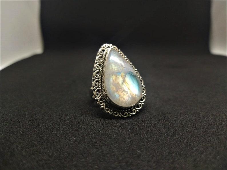 Rainbow Moonstone RingNatural MoonstoneSterling Silver Ring 925