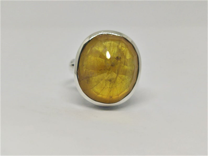 Yellow Sappphire Ring  Silver 925  SIlver 925 Ring