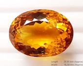 29.15 Carat Golden Shiny Oval Shape Yellow Citrine Loose Gemstone For Pendent Use Excellent Cut