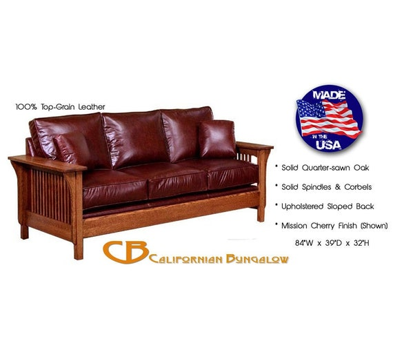 Superb Classic Mission Arts Crafts Upholstered Leather Sofa Caraccident5 Cool Chair Designs And Ideas Caraccident5Info