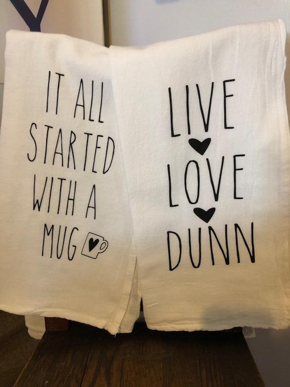 Rae dunn inspired Font Tea Towels  Set Of2