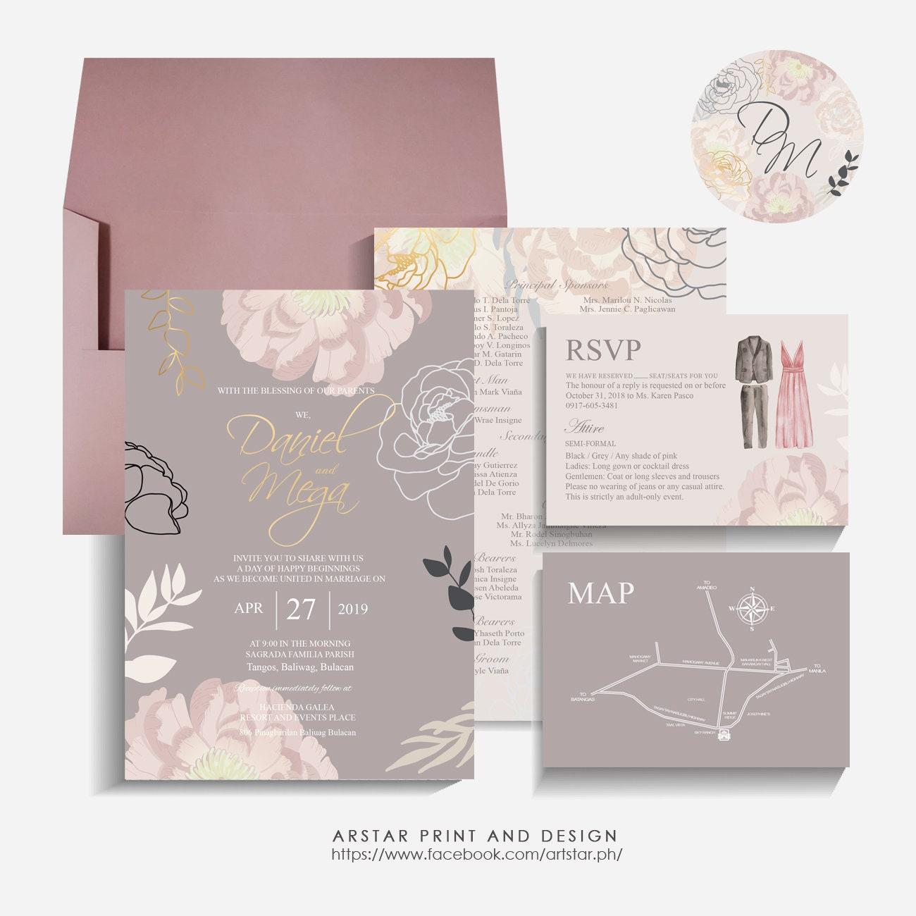 Editable elegant wedding invitation template from ArtStar I | Etsy