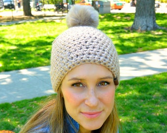 GRACE Beanie with Faux Fur Puff, Crochet Women's Toque, Crochet Beanie, Chunky Beanie, Women's Toque, Pom Pom, Winter Hat, grey and pink