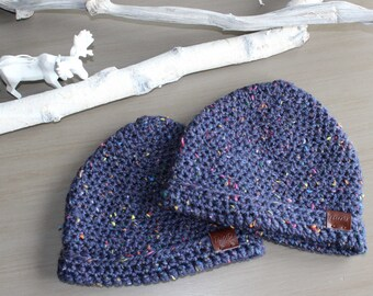 GRACIE Kids Beanie w Brim, Crochet Kids Toque, Crochet Beanie, Warm Chunky Beanie, Girl's Toque, Toddler's Toque, Winter Hat