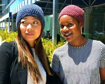 KOTI Crochet Beanie, Crochet Women's Beanie, Crochet Beanie, Warm Chunky Beanie, Women's Toque, Blue and Burgundy Beanie