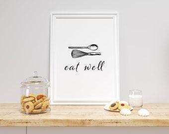Eat Well Wall Decor   Kitchen Wall Art   Digital Download   Minimalistic Wall Art