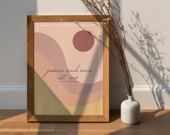 Personalized Minimalistic Boho Vibe Wall Art Digital Print   Instant Download   Sun and Waves   Anniversary Gift