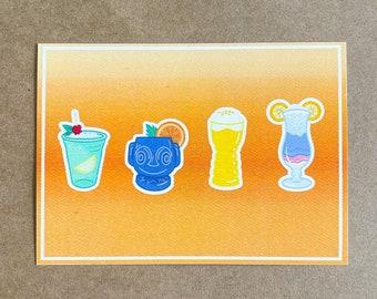 "Disney Cocktails Print   5""x7"" High Quality Print"