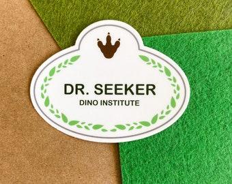 Dr. Seeker Sticker   Dinosaur Ride Laptop or Water bottle Sticker